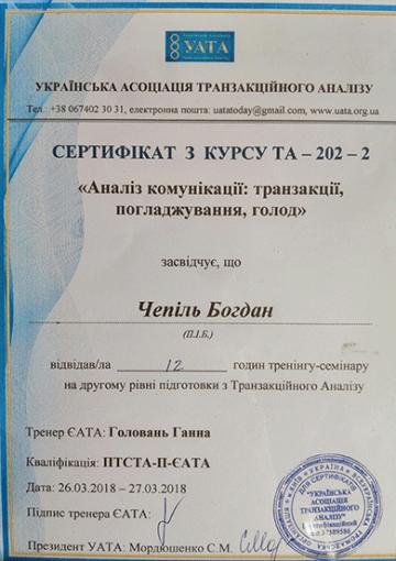 Сертификат Анализ коммуникации - Чепиль Богдан